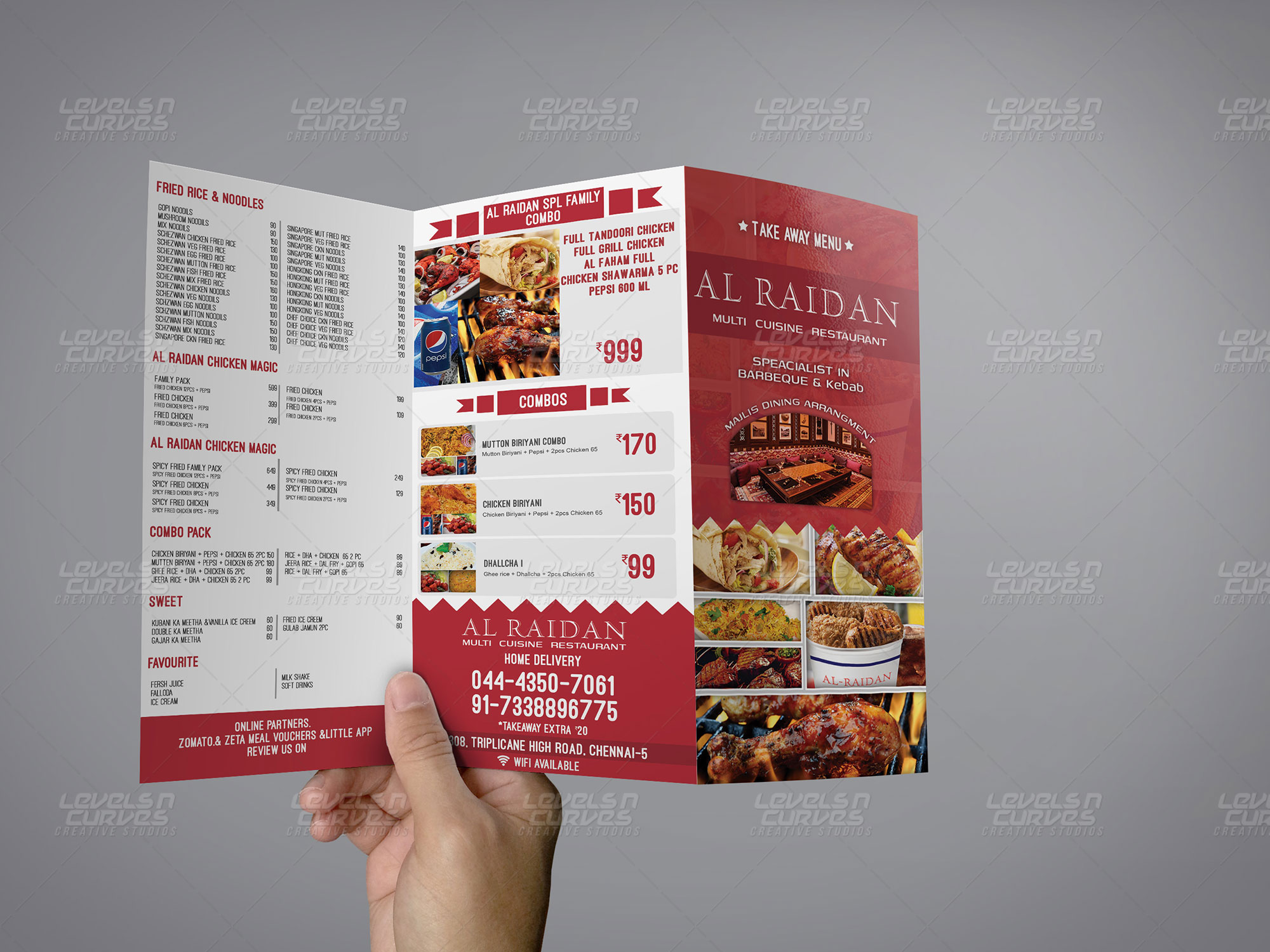 trifold menu 2 levels n curves creative studios